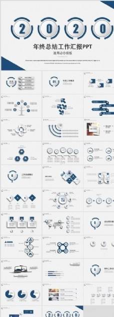 藍色工作匯報PPT模板