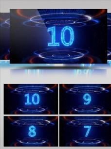 藍光十秒數字倒計時視頻素材