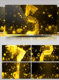 金色質感震撼五秒倒計時視頻素材