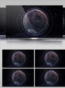 線條星球旋轉視頻素材