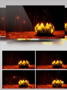 金色旋轉蓮花開放舞臺背景素材
