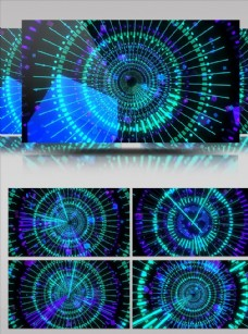 圓形線條擴散轉動舞臺背景視頻