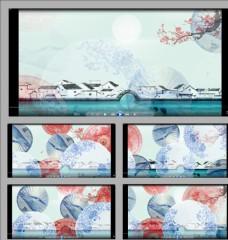 中國風水墨油紙傘旋轉視頻素材