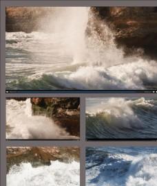 航拍海浪汹涌拍打礁石