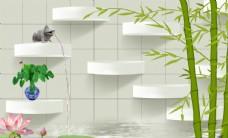 竹子 荷花 青蛙3D 方格背景