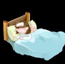 感冒生病發燒臥床不起的小女孩