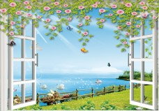 3D窗戶花藤海灘背景墻
