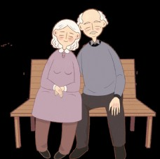 卡通老年人情侶手繪插畫