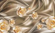 3D立體浮雕玫瑰絲綢背景墻