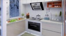 现代风格家居封闭厨房 整体厨柜