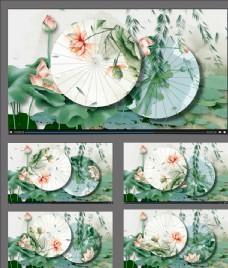荷花油紙傘旋轉動畫視頻素材