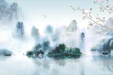 新中式玉蘭山水背景墻