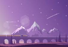 行駛在山間的火車