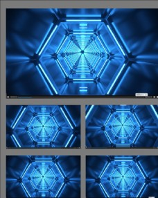 動感隧道立體舞臺背景視頻素材