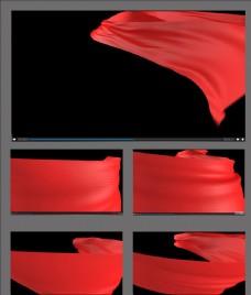 紅絲綢飄動視頻素材