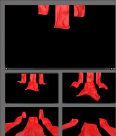 紅絲綢飄動轉場視頻素材