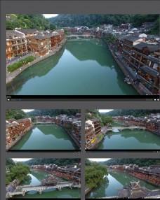 航拍湘西河道古鎮