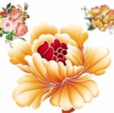 国画牡丹花红花金色花