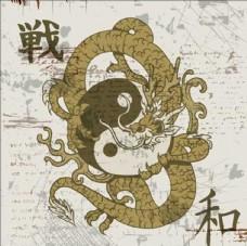 中国龙太极卡通水墨素材背景