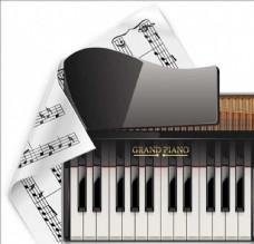 音乐乐谱钢琴键盘按键键子卡通素