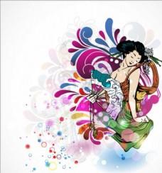 彩色妇女女人卡通手绘性感女孩