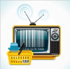 电视机框购物筐竹楼卡通设计