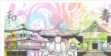 风景卡通手绘素材背景佛石狮子