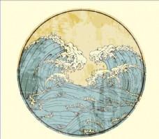 日系风格海浪复古风景素材背景
