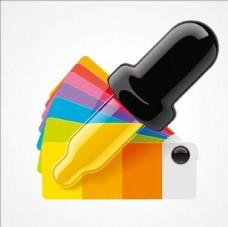 彩虹吸管吸取颜色的试管卡通设计