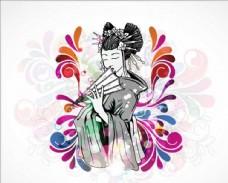 拿扇子的日本女孩手绘卡通素材