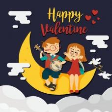 可愛情人節 月亮上的情侶