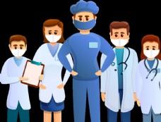 卡通医护人员团队戴口罩