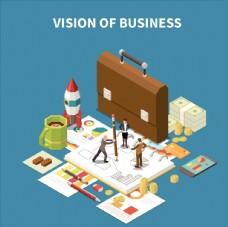 创意商务金融数据统计插画设计
