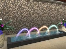 走廊處噴泉水景燈光后期效果圖