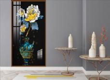 抽象琺瑯彩金色花瓶牡丹裝飾畫