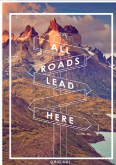 高山路標攝影剪切潮流藝術海報