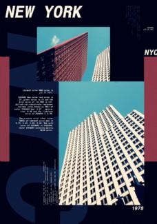 城市高樓攝影剪切潮流藝術海報