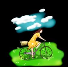 騎著自行車小清新女生