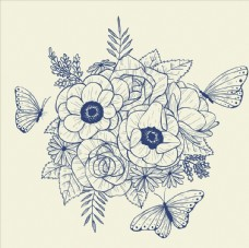 线条手绘矢量花