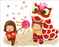 舞狮子插画
