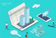 房产投资金融理财纸币2.5D