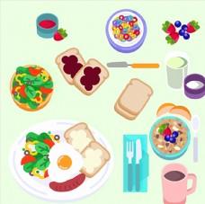 卡通面包蔬菜营养健康饮食早餐