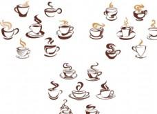 咖啡馆店铺招牌咖啡杯冒热气矢量