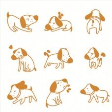 可爱卡通宠物狗表情动作大全