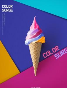 创意炫彩冰淇淋海报