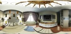 室内欧式主卧360全景图