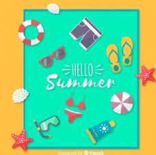 创意沙滩毯子上的夏季度假物品