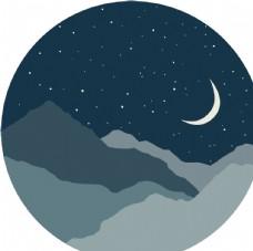 远山夜晚星空月亮剪影矢量图