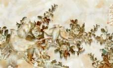 家和富贵浮雕牡丹花电视背景墙