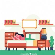 创意卧室 休息的女子